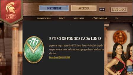 Bronze Casino 10% de reembolso por retiro los lunes