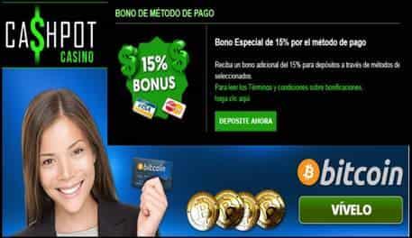 Bonos por método de ingreso de hasta 15% en Casino Cashpot