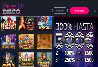 Gane 500 euros por primeros tres depósitos en Casino Disco